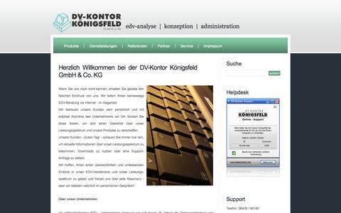 Screenshot of Home Page dvkontor.de - Home - dvkontor.de - DV-Kontor Königsfeld GmbH & Co. KG - EDV-Analyse - Administration - Konzeption - EDV-Beratung - Biebertal- Gießen (Hessen) - captured June 11, 2016