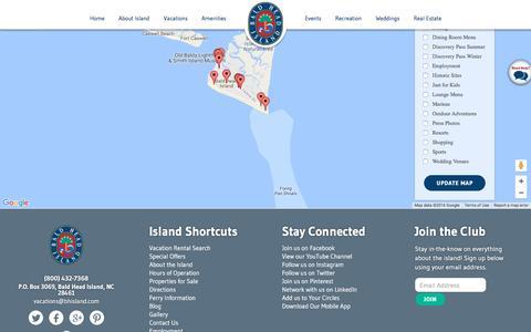 Screenshot of Maps & Directions Page baldheadisland.com captured Aug. 27, 2016
