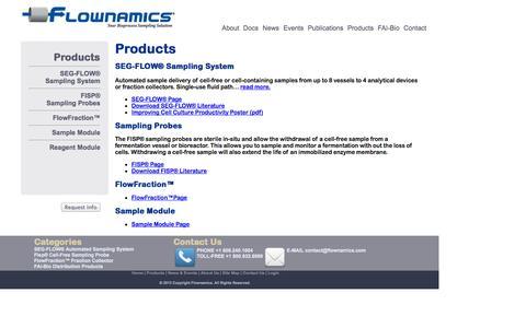 Screenshot of Products Page flownamics.com - Flownamics - Sampling probes and sampling systems. - captured Oct. 6, 2014