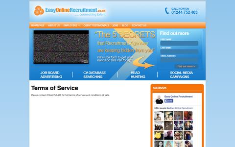 Screenshot of Terms Page easyonlinerecruitment.co.uk - Terms of Service - captured Sept. 27, 2014