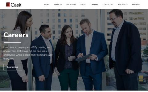 Screenshot of Jobs Page caskllc.com - Business and Technology Management Services | Careers at Cask - captured April 19, 2018