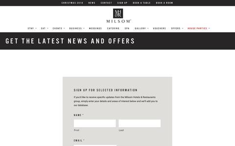 Screenshot of Signup Page milsomhotels.com - Get the Latest News and Offers • Milsom Hotels - captured Nov. 15, 2018