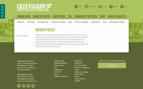 Screenshot of Privacy Page greensgrow.org - Privacy Policy | Greensgrow Farms : Greensgrow Farms - captured Sept. 22, 2017