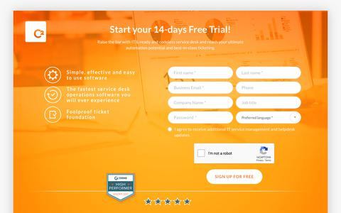 Screenshot of Trial Page c2enterprise.com - Free Trial of C2 ATOM IT Service Management software - captured Sept. 25, 2018