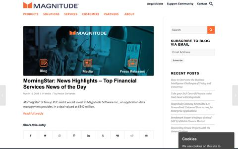 Screenshot of Press Page magnitude.com - MorningStar: News Highlights - Top Financial Services News of the Day - Magnitude - captured Oct. 3, 2019