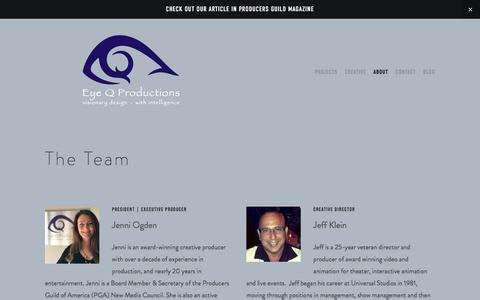 Screenshot of Team Page eyeqproductions.com - About the Eye Q Team — Eye Q Productions - captured July 23, 2018
