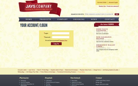 Screenshot of Login Page jayscompany.com - Jays Company :: Your Account/Login - captured Sept. 30, 2014