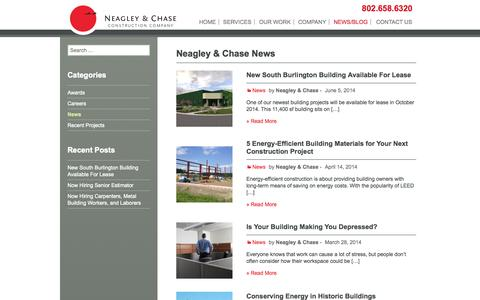 Screenshot of Press Page neagleychase.com - News Archives - Neagley & Chase - captured Oct. 7, 2014