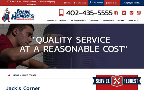 Screenshot of Blog jhlincoln.com - Jack's Corner - John Henry's Plumbing, Heating and Air Conditioning - captured Dec. 20, 2018