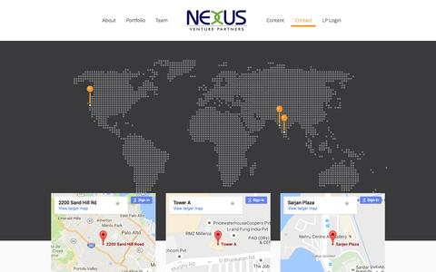 Screenshot of Contact Page nexusvp.com - Contact – Nexus Venture Partners - captured Sept. 16, 2016