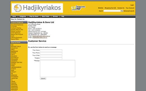 Screenshot of Contact Page hadjikyriakos.com.cy - Contact Us - captured Oct. 1, 2014