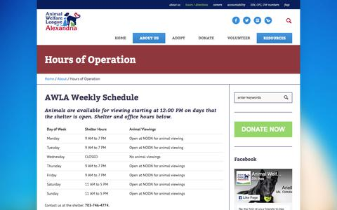 Screenshot of Hours Page alexandriaanimals.org - Hours of Operation - Alexandria Animals - captured Oct. 8, 2017