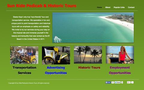 Screenshot of Home Page sunridepedicab.com - Home - captured Oct. 6, 2014