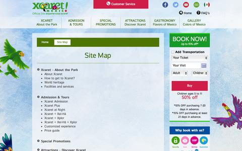 Screenshot of Site Map Page xcaret.com - Site Map | Xcaret Cancun Mexico - captured Sept. 19, 2014