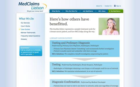 Screenshot of Case Studies Page medclaimsliaison.com - MedClaims - captured Feb. 12, 2016