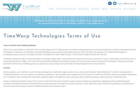 Screenshot of Terms Page timewarptech.com - TimeWarp Technologies Terms of Use - TimeWarp Technologies - captured Oct. 25, 2017