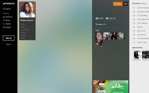 Screenshot of Home Page myspace.com - Melanie Denard | Listen and  Stream Free Music, Albums, New Releases, Photos, Videos - captured Feb. 6, 2017