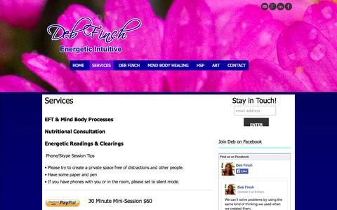 Screenshot of Services Page debfinch.com - Services | Deb Finch - captured Nov. 3, 2014