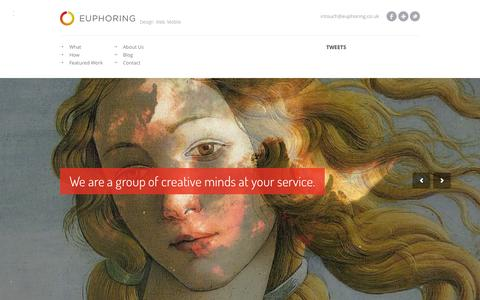 Screenshot of Home Page euphoring.co.uk - Euphoring | Web Design Agency - captured Sept. 6, 2015