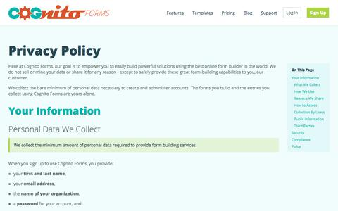 Privacy Policy | Cognito Forms - Free Online Form Builder