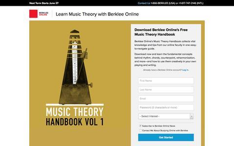 Screenshot of Landing Page berklee.edu - Download Berklee's Free Music Theory Handbook - Berklee Online - captured April 15, 2016