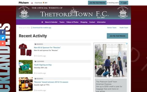 Screenshot of Press Page pitchero.com - Recent Activity - Thetford Town FC - captured Jan. 21, 2017