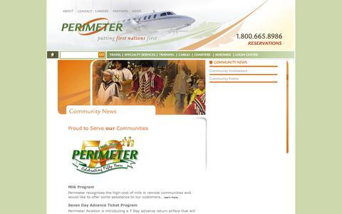 Screenshot of Press Page perimeter.ca - Perimeter Aviation- Community News - captured Oct. 2, 2014