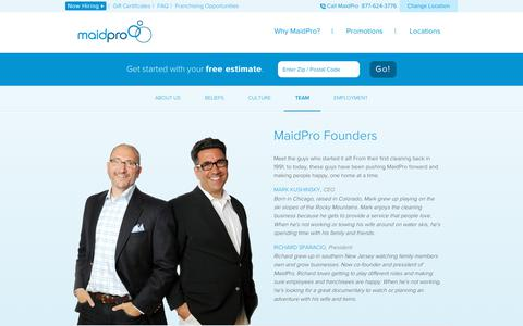Screenshot of Team Page maidpro.com - The MaidPro Team | About MaidPro - captured July 14, 2018