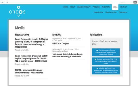Screenshot of Press Page oncos.com - Media - captured Sept. 16, 2014