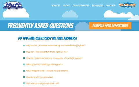 Screenshot of FAQ Page huftheatingac.com - Frequently Asked Questions | Huft Heating and Air Conditioning, Inc - captured Sept. 30, 2018