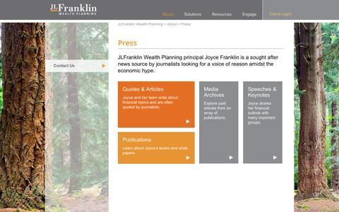 Screenshot of Press Page jlfwealth.com - Press | JLFranklin Wealth Planning - captured Oct. 4, 2014
