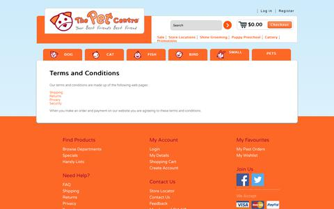 Screenshot of Terms Page thepetcentre.co.nz captured June 15, 2017