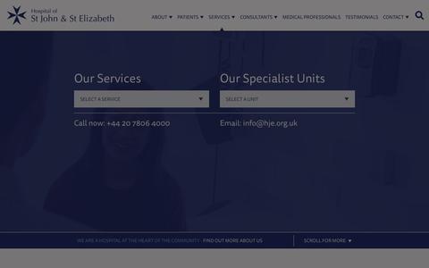 Screenshot of Services Page hje.org.uk - Services - Hospital Of St John & St Elizabeth - captured Sept. 29, 2018