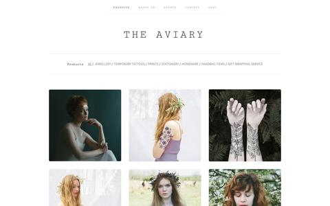 Screenshot of Products Page the-aviary.co.uk - PRODUCTS / The Aviary - captured Jan. 11, 2016