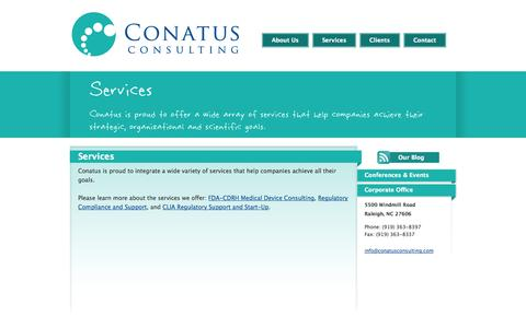 Screenshot of Services Page conatusconsulting.com - Conatus Consulting - Biotechnology, Pharmaceutical, Medical Device and Life Sciences Consulting - captured Oct. 2, 2014