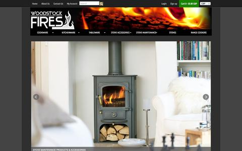 Screenshot of Home Page woodstockfires.co.uk - Woodstock Fires — Stoves & Range Cookers | Quality Cookware & Kitchen Accessories - captured Jan. 15, 2015