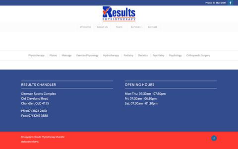 Screenshot of Services Page resultsphysio.com.au - Services – Results Physiotherapy Chandler - captured Nov. 10, 2017