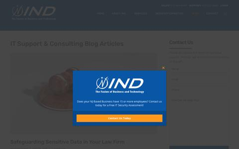 Screenshot of Blog indcorp.com - IT Support & Consulting Blog Articles | IND Blog | IND Corp, Parsippany NJ - captured April 17, 2019