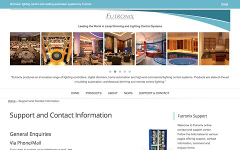 Screenshot of Contact Page Support Page futronix.com - Dimmers, LED dimmer & Lighting Controls – support centre - captured June 5, 2017