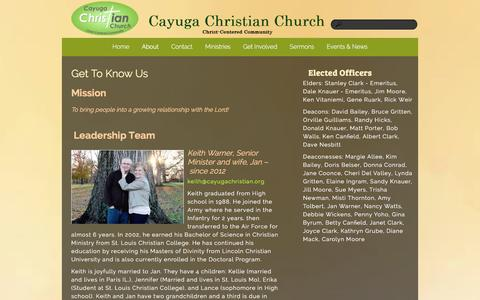 Screenshot of About Page cayugachristian.org - About «  Cayuga Christian Church - captured Jan. 26, 2016