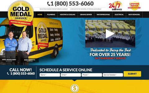 Screenshot of Home Page goldmedalservice.com - New Jersey Plumbing | Heating | Electric | Drain & Sewer - captured Jan. 31, 2016