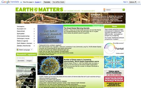Screenshot of Home Page earth-matters.nl - Earth Matters | Het andere nieuws! - captured Sept. 19, 2014