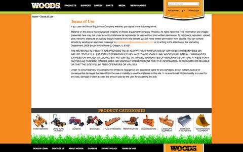 Screenshot of Terms Page woodsequipment.com - Terms of Use - captured Oct. 9, 2014