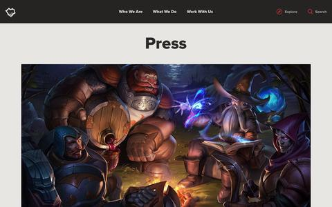 Screenshot of Press Page riotgames.com - Press | Riot Games - captured Dec. 8, 2017