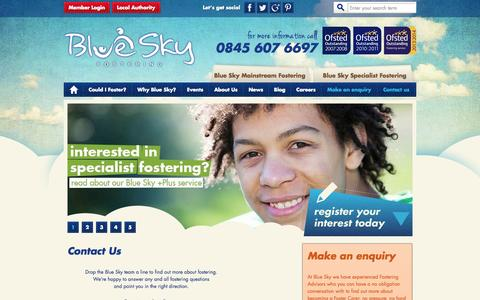 Screenshot of Contact Page blueskyfostering.com - Contact us - Blue Sky Fostering - captured Sept. 30, 2014
