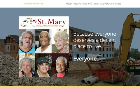 Screenshot of Home Page stmarydevelopment.org - St. Mary Development: A faith-based housing nonprofit serving low-income seniors and families in the Dayton, Ohio area - captured Feb. 16, 2016