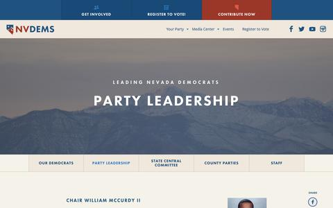 Screenshot of Team Page nvdems.com - Party Leadership - NVDems - captured Oct. 20, 2017