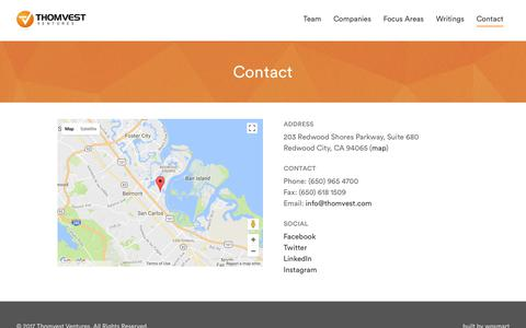 Screenshot of Contact Page thomvest.com - Contact - Thomvest Ventures - captured Oct. 25, 2017
