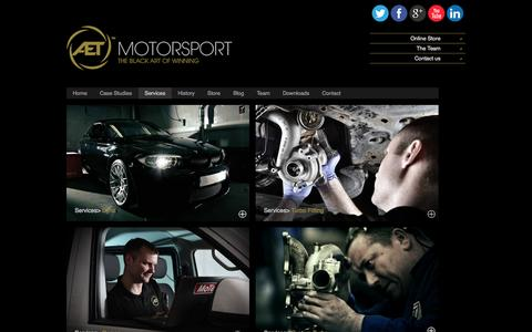 Screenshot of Services Page aet-motorsport.co.uk - Services | AET Motorsport - captured Sept. 30, 2014