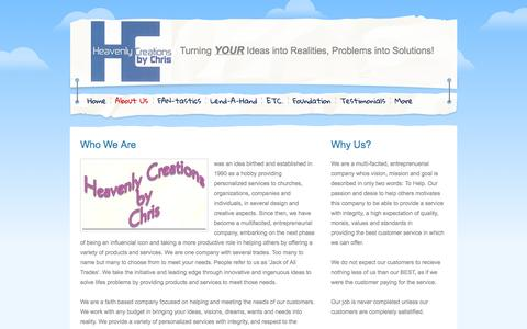Screenshot of About Page webs.com - Heavenly Creations by Chris - About Us - captured Sept. 13, 2014